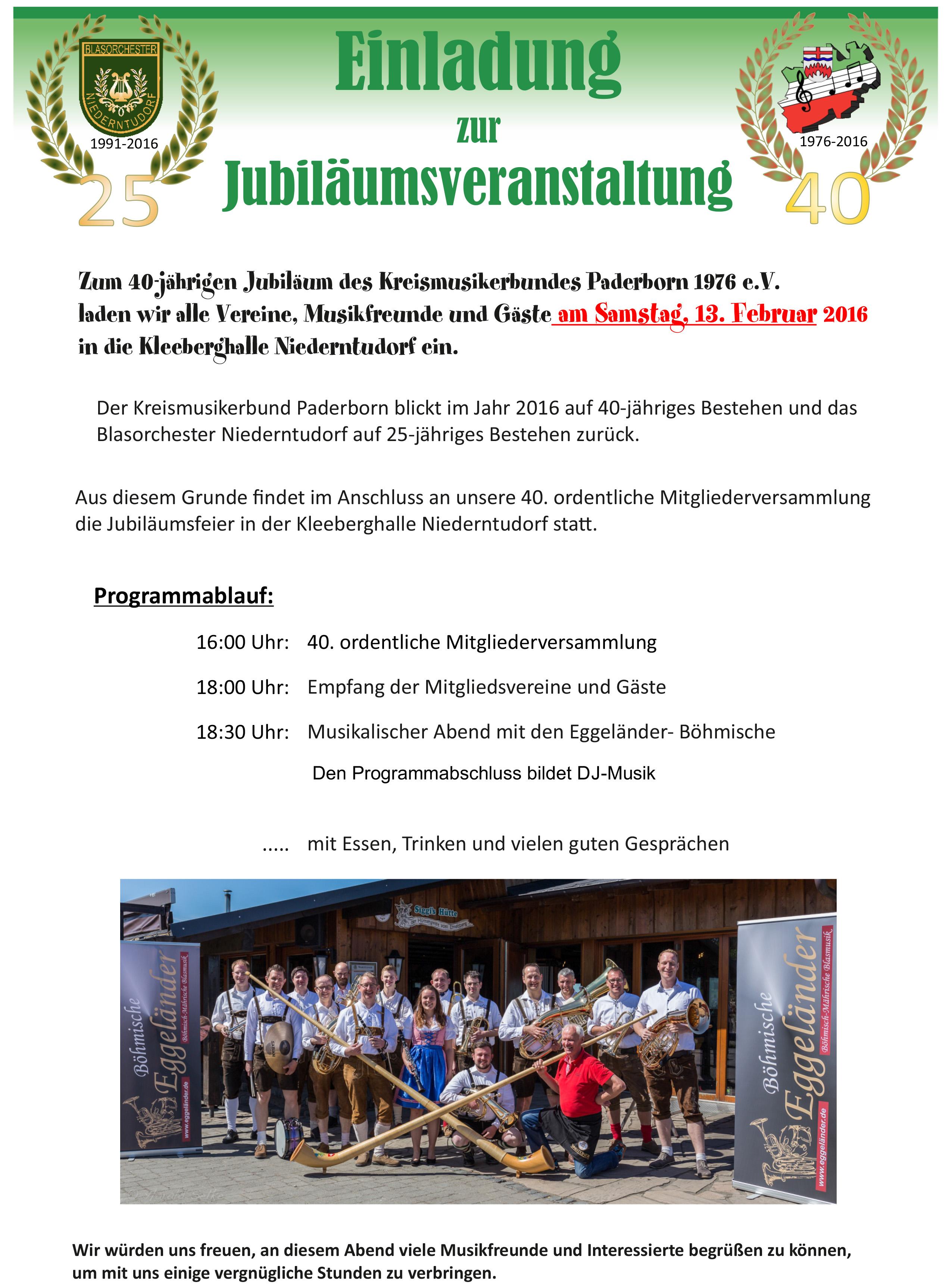 Einladung am Samstag, den 13. Februar 2016 in der Kleeberghalle Niederntudorf ab 16:00Uhr